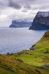 Wall Mural - Village of Trollanes on the island of Kalsoy in Faroe Islands, Denmark