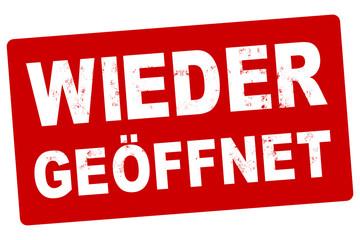 nlsb1476 NewLongStampBanner nlsb - german label / banner - Eröffnung - Schild mit der Stempel Aufschrift: wieder geöffnet. - open. - einfach / rot / Vorlage - 1komma5zu1 - new-version - xxl g9498 Fototapete
