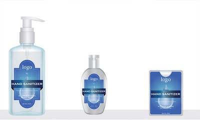 Wall Mural - sanitizer and pocket hand sanitizer with label design ready for mock up. vector illustration