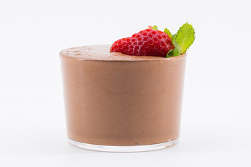chocolate mousse with fresh strawberry