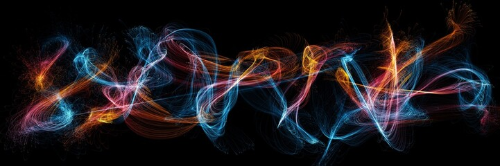Panoramic view of a colorful illustration imitating sparks and waves under long exposure on a black background