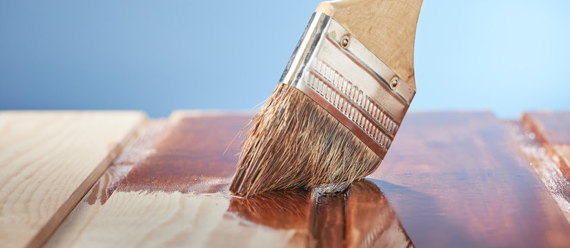 Painting wooden floor with protective varnish on a blue background.