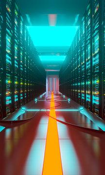 Data center with server racks in a corridor room
