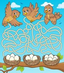 Spoed Fotobehang Voor kinderen Maze 34 with birds and nests