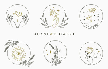 Beauty occult logo collection with hand,geometric,crystal,moon,rose.Vector illustration for icon,logo,sticker,printable and tattoo