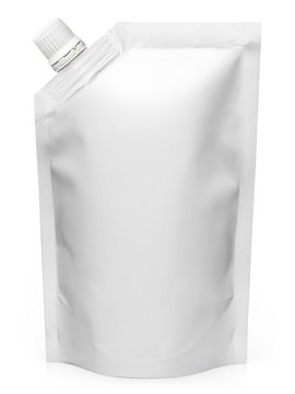 White doypack, isolated on white background