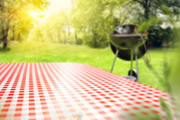 Foto auf Gartenposter Lime grun Desk of free space and blurred spring landscape