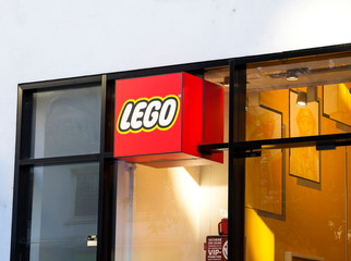 Nurnberg, Germany: Lego logo, Lego is a line of plastic construction toys that are manufactured by The Lego Group.