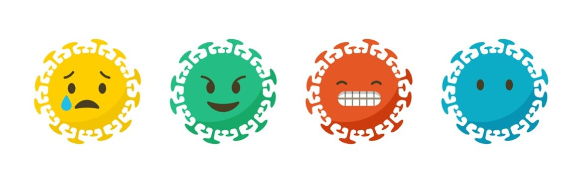 Coronavirus emotions and states. Emoji icons set. Vector illustration, background and banner