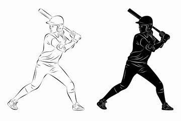 illustration of a softball woman player, vector drawing