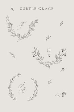 Collection of delicate line drawing vector floral wreaths frames. hand drawn delicate flowers, branches, leaves, plants. Botanical illustration. Leaf logo. Wedding invitation stationary