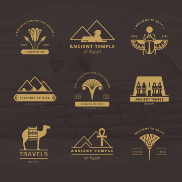 A large collection of vector logos on travel, Egypt and abstract topics.