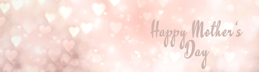 Fototapete - Mother's Day background - abstract banner with hearts and text - greeting card