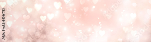 Abstract pastel background with bokeh hearts - concept Mother's Day, Valentine's Day, Birthday , wedding - spring colors