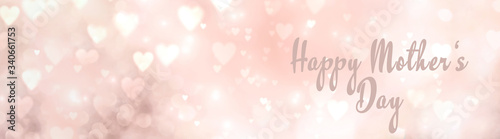 Mother's Day background - abstract banner with hearts and text - greeting card