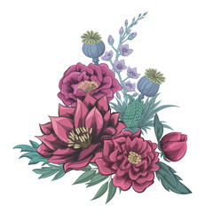Pink roses and peonies. Vector print. Bouquet of flowers.
