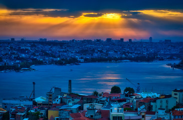 Fototapete - Beautiful Galata Tower Point of View and Cityscape in Istanbul, Turkey at Sunset, under an amazing Sky