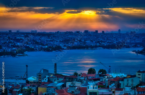 Wall mural Beautiful Galata Tower Point of View and Cityscape in Istanbul, Turkey at Sunset, under an amazing Sky