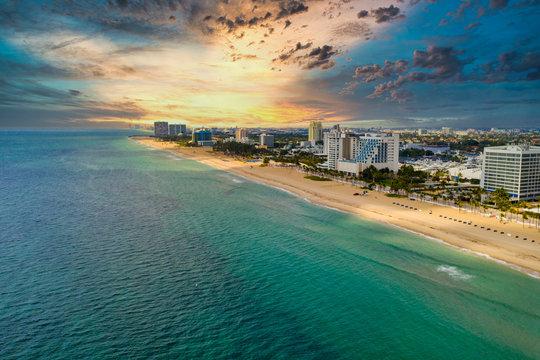 Dramatic sunset over Fort Lauderdale beach FL