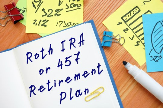 The photo says Roth IRA or 457 Retirement Plan. Notepad, pen, marker.