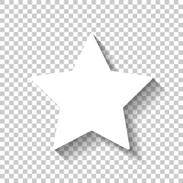 Simple star, rating symbol. White icon with shadow on transparent background