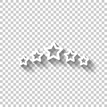 5 stars rating, top service, outline design. White icon with shadow on transparent background