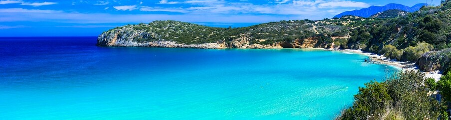 Most beautiful and best beaches of Crete island -Istron bay near Agios Nikolaos. Greece