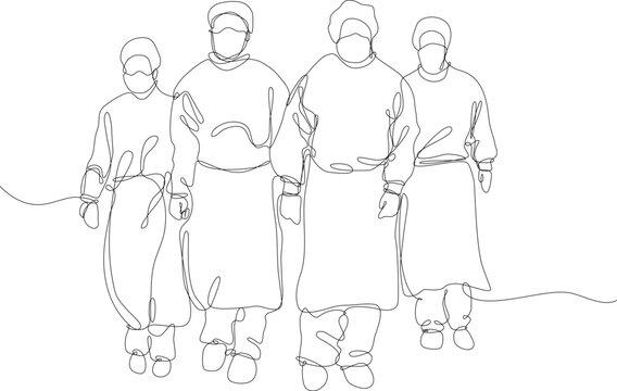 equipe medica vestita con protezione antivirus, disegno fatto con una sola linea continua