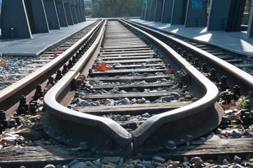 Spoed Fotobehang Spoorlijn High Angle View Of Railroad Tracks