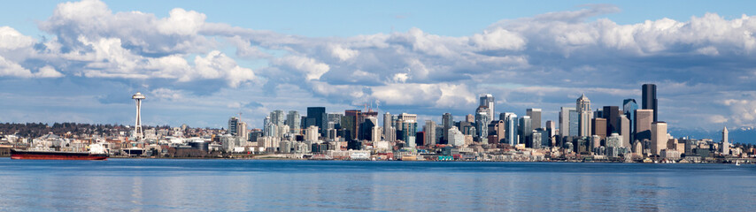 Seattle skyline viewed from Alki Beach West Seattle Washington USA. Wall mural