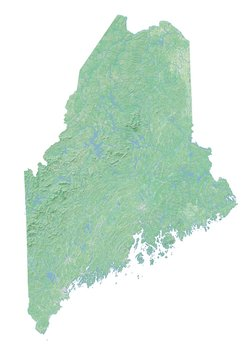 High resolution topographic map of Maine with land cover, rivers and shaded relief in 1:1.000.000 scale.