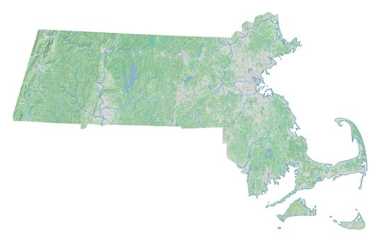 High resolution topographic map of Massachusetts with land cover, rivers and shaded relief in 1:1.000.000 scale.