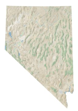 High resolution topographic map of Nevada with land cover, rivers and shaded relief in 1:1.000.000 scale.