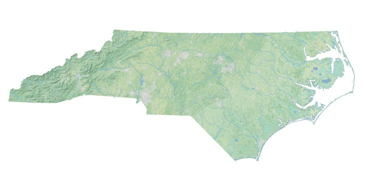 High resolution topographic map of North Carolina with land cover, rivers and shaded relief in 1:1.000.000 scale.