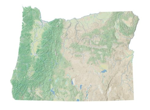 High resolution topographic map of Oregon with land cover, rivers and shaded relief in 1:1.000.000 scale.