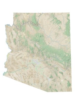 High resolution topographic map of Arizona with land cover, rivers and shaded relief in 1:1.000.000 scale.
