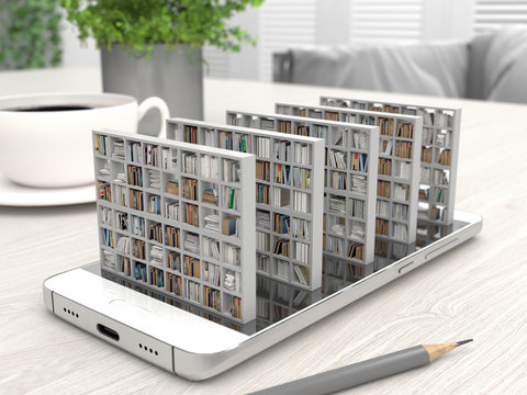 Bookcase with books on a smartphone screen on a desktop. Electronic library in a mobile phone. Distance education and self-study. Books online. Creative conceptual 3D rendering.