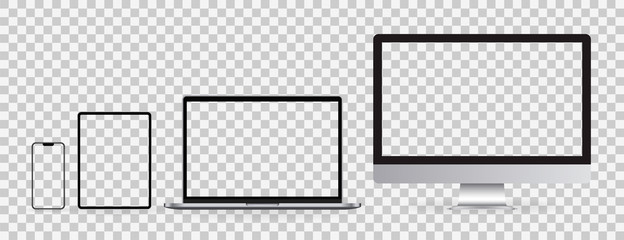 Realistic set of Monitor, laptop, tablet, smartphone on transparent background. Mockup set of device. Vector illustration Fotomurales