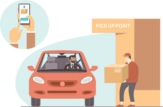 online order and pick up pointconcept. Safe shopping during coronavirus COVID-19 quarantine.