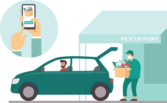 Pick up point in food supermarket. Safe shopping during coronavirus COVID-19 quarantine