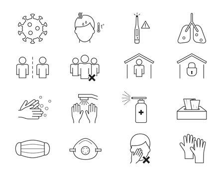 Coronavirus line icon set. Covid-19 protection outline icons. Coronavirus prevention. Health and medicine.