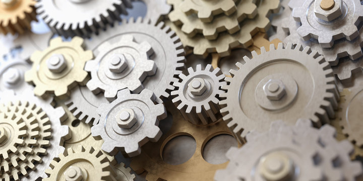 Metallic gears and cogs. 3D rendered illustration.