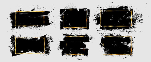 Fotobehang - Grunge brushstroke and splatter with gold frame. Dirty artistic design element, box, ink background for text. Black splashes isolated on white background. Vector illustration brush strokes backgrounds