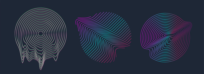 Circle design shape with glitch and liquid set. Illuminated holographic in 80s-90s. Retrofuturism shapes Vaporwave, synthwave. Trendy design elements for t-shirt and merch. Vector illustration