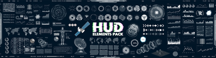 Big collection HUD, GUI elements for VR, UI design. Futuristic User Interface set (charts, graphic, futuristic circle gadgets, 3d body model, world map, infographics and other) Sky-fi elements. Vector Fototapete