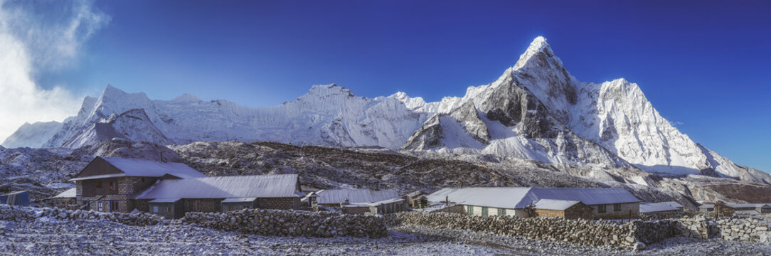 Chukhung and mount Ama Dablam in Himalayas south of Mount Everest.