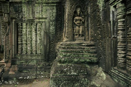 Apsara dancer stone carvings, Angkor Wat, Siem Reap, Cambodia
