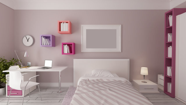 girl bedroom design idea realistic 3D rendering
