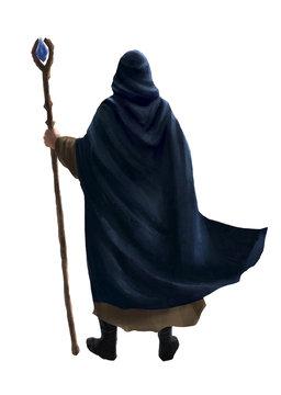 Mage sorcier avec batôn magique et cape vu de dos