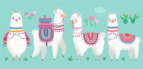 Canvas Print - Cute Llamas. Funny hand drawn alpaca characters.